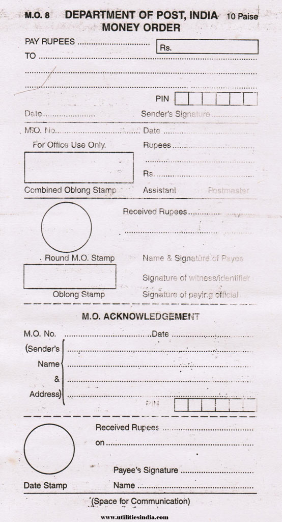 e money order form  Order Money Order in 8 Steps in India | Utilities India